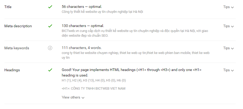Ví dụ về title, thẻ meta, h1, h2 của BICTweb