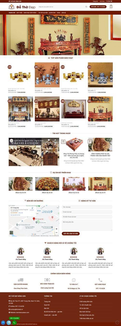 thiết kế website đồ thờ