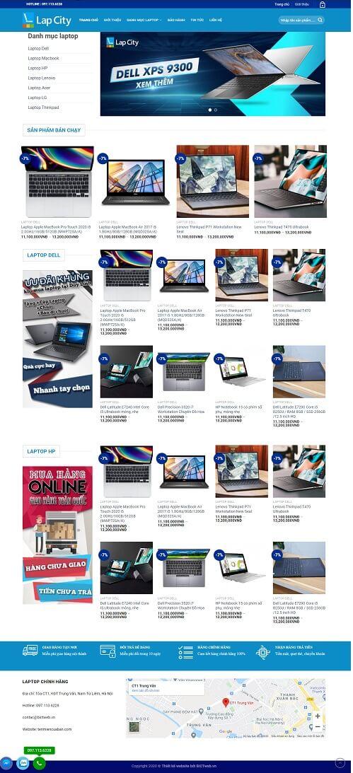 thiết kế website laptop