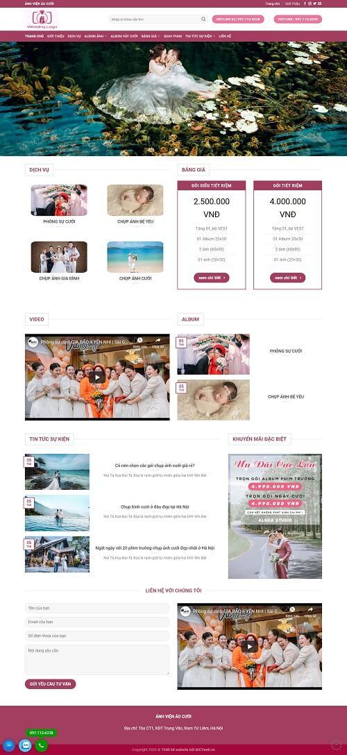 thiết kế website chụp ảnh cưới